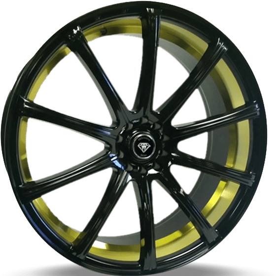 White Diamond W3195 Black Wheels with Gold Inner Cut