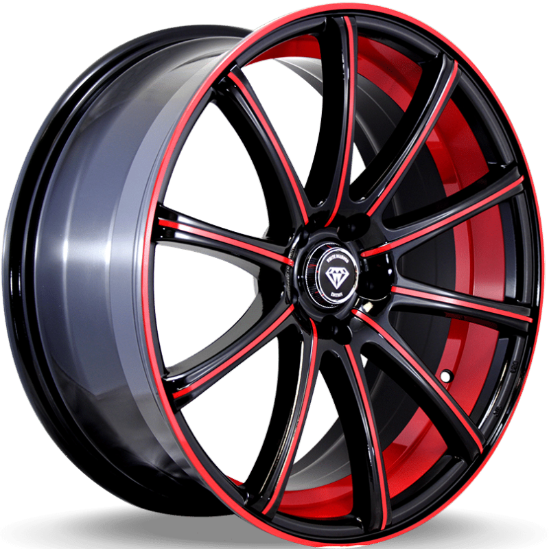 White Diamond W3195 Black and Red Wheels