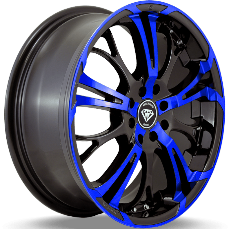 White Diamond W667 Black and Blue Wheels