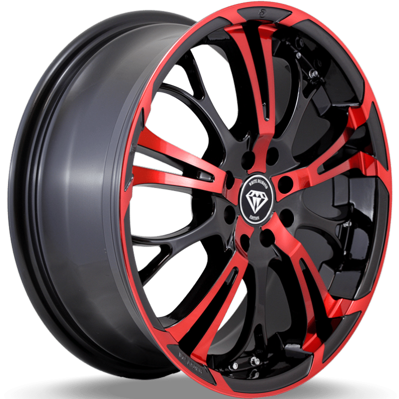 White Diamond W667 Red and Black Wheels