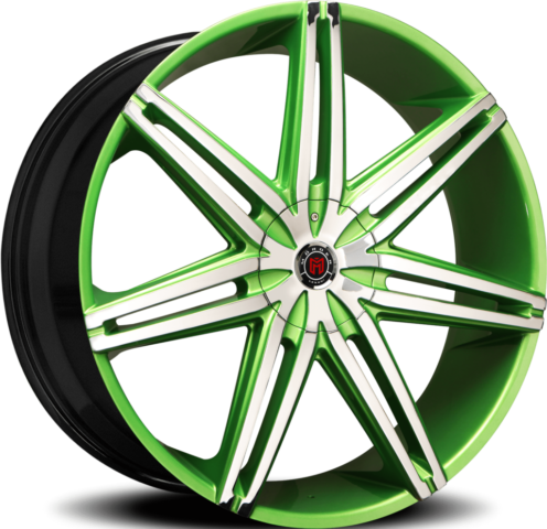 Morder MS-648 Chrome and Green Wheels