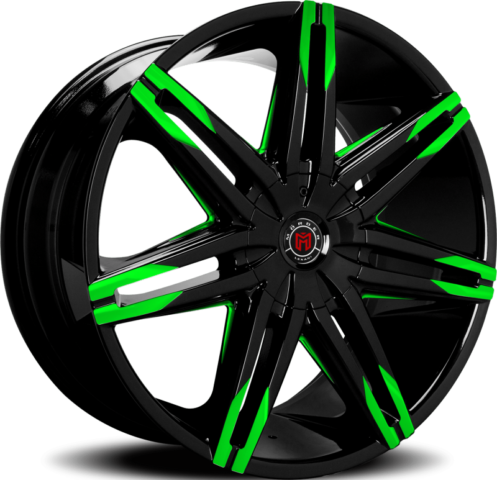 Morder MS-648 Black Wheels with Green Tips