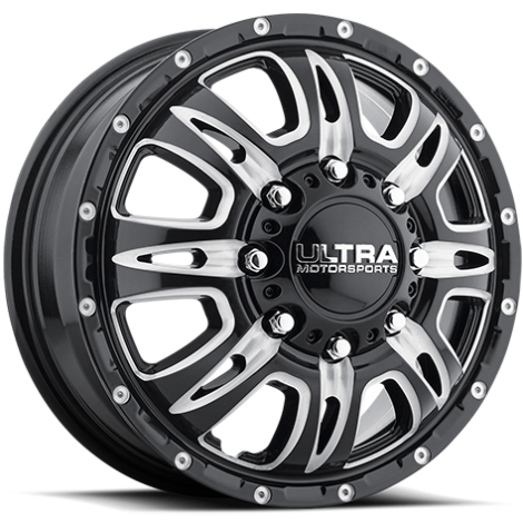 Ultra 049 Predator Dually Front Gloss Black Milled Wheels
