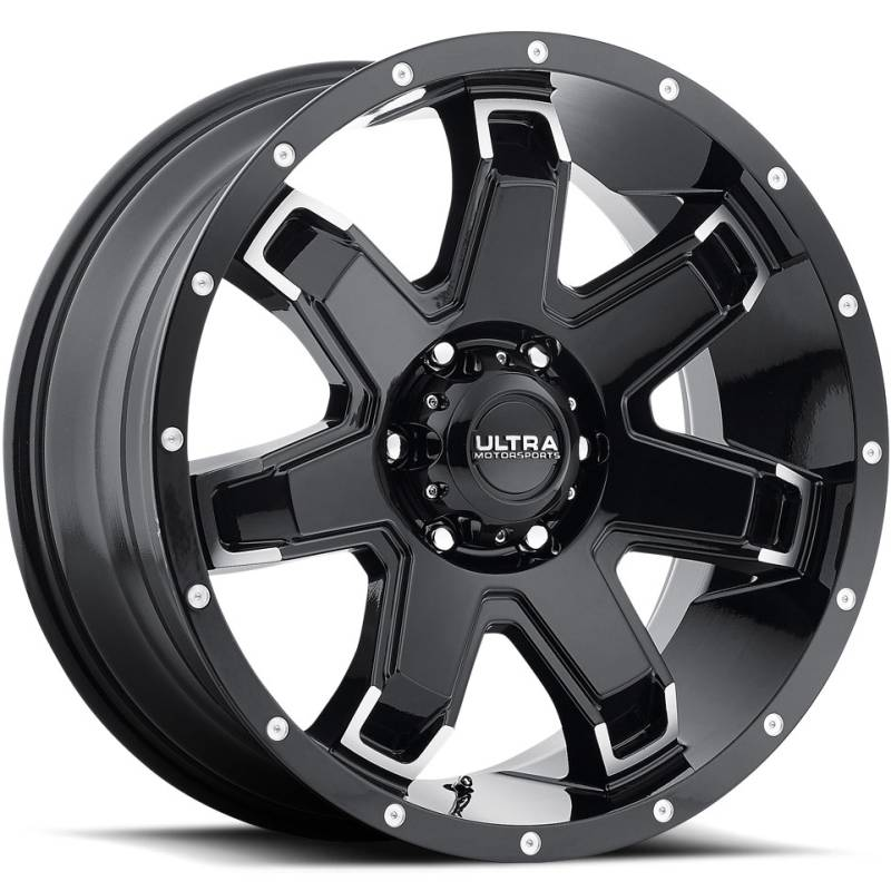 Ultra 209 Bent 7 Gloss Black Milled Wheels