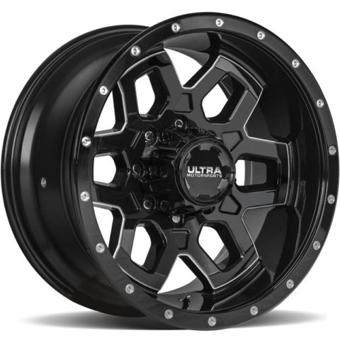Ultra 217 Warlock Gloss Black Milled Wheels