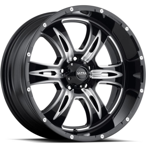 Ultra 249 Predator II Gloss Black Milled Wheels