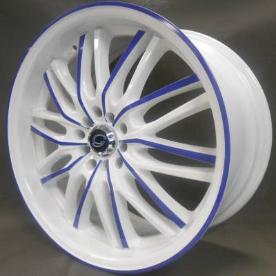 White Diamond W3108 White Wheels with Blue Accent