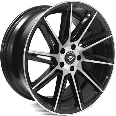 White Diamond W4617 Machine Black Wheels