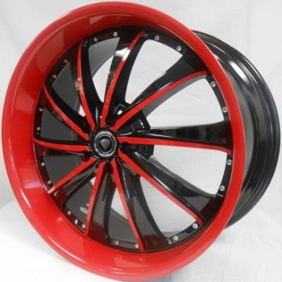 White Diamond 0016 Black and Red Wheels