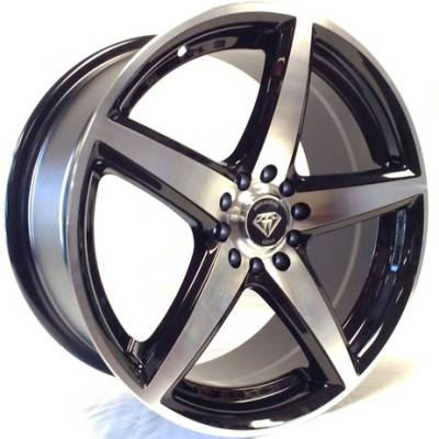White Diamond W244 Machine Black Wheels