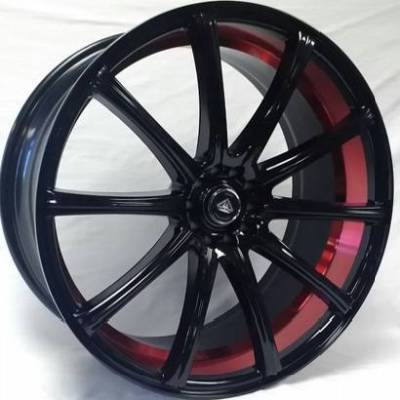 White Diamond W3195 Black Wheels with Red Inner Cut