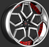Lexani LF-110 Machine Face Black with Red Accent