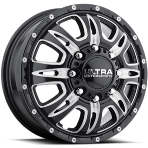 Ultra Type 049 Predator Gloss Black Milled Front Dually Wheels