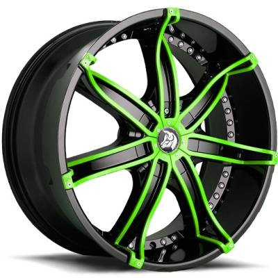 Diablo Wheels DNA Black with Green Inserts