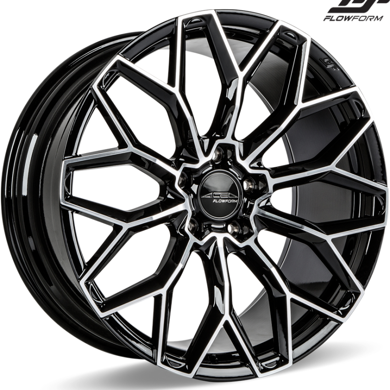 Ace Alloy AFF03 Piano Black Machined Wheels