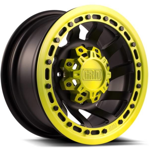 Grid Off Road Wheels GX1 Matte Black with Shocker Yellow Beadlock
