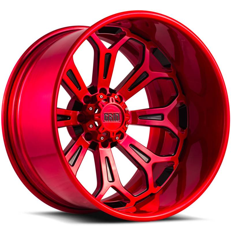 Grid Off Road Wheels GF3 Brushed Red with Black Accents