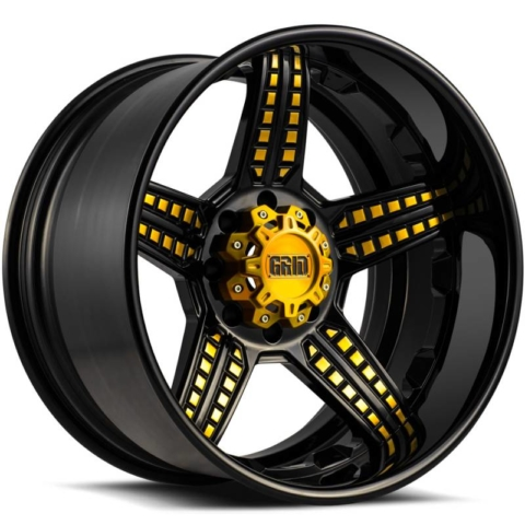 Grid Off Road Wheels GF5 Gloss Black with Gold Accents