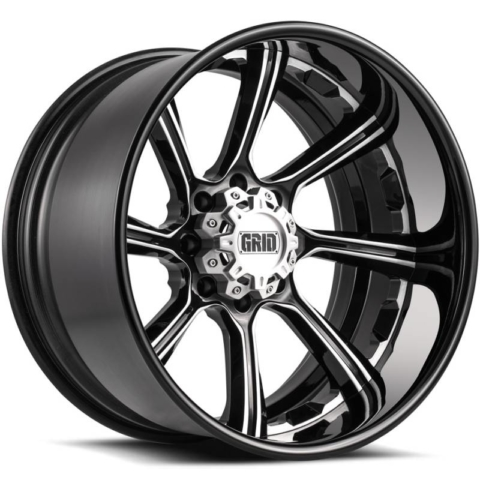 Grid Off Road Wheels GF8 Gloss Black with Brushed Accents