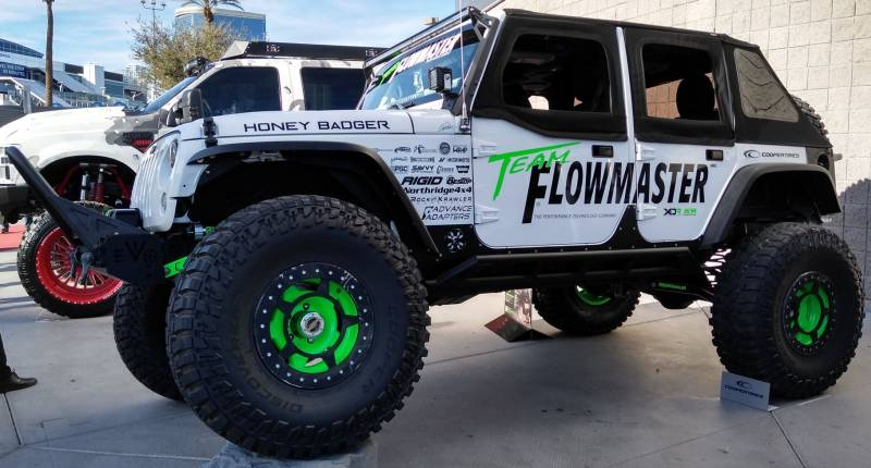 Cooper Tires on Team Flowmaster Honey Badger Jeep with Spyderlock Wheels and Cooper Discover SST Pro Tires