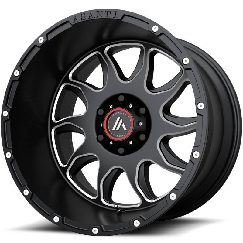Asanti AB810 Gloss Black Milled Wheels