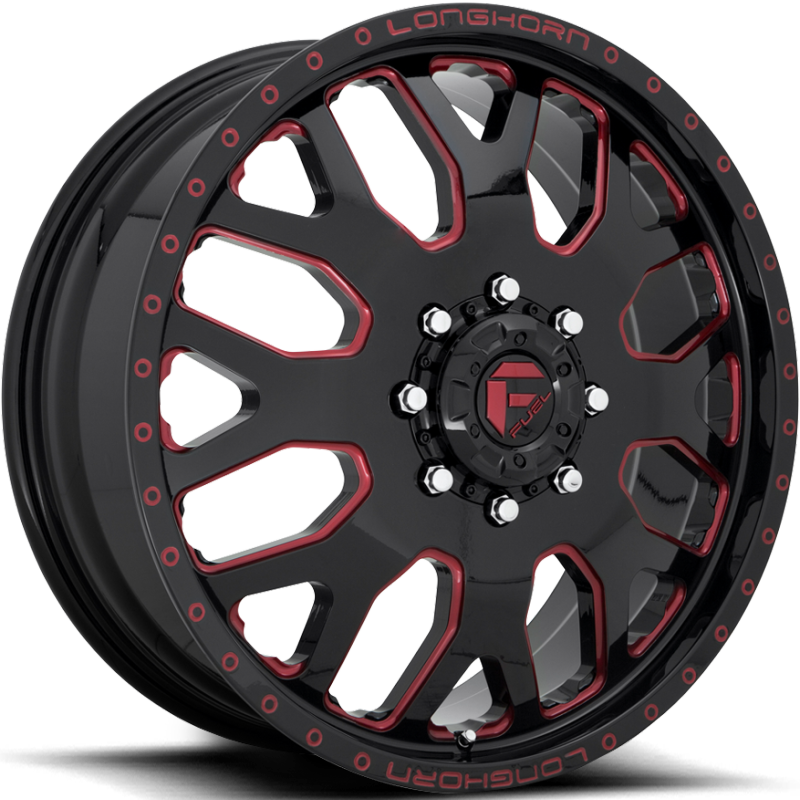 Fuel FF19D Gloss Black with Cherry Red Accents Front Dually Wheels