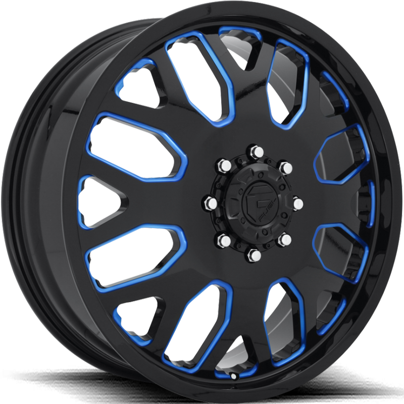 Fuel FF19D Gloss Black with Trans Blue Accents Front Dually Wheels
