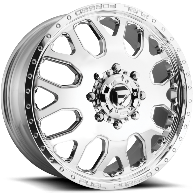 Fuel FF19D Polished Front Dually Wheels with Decorative Edge