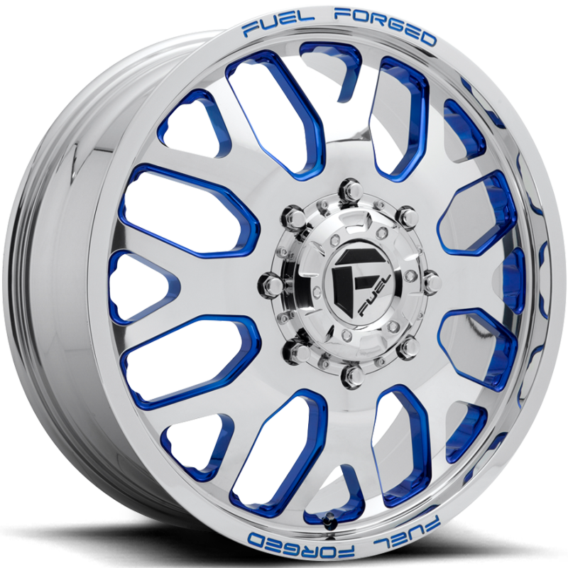 Fuel FF19D Polished with Trans Blue Accents Front Dually Wheel