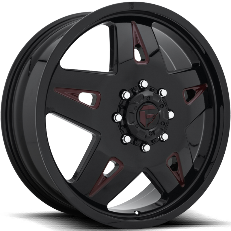 Fuel FF21D Gloss Black with Cherry Red Accents Front Dually Wheel