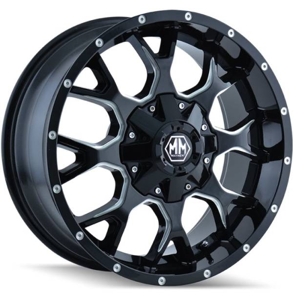 Mayhem 8015 Warrior Black Milled Wheels