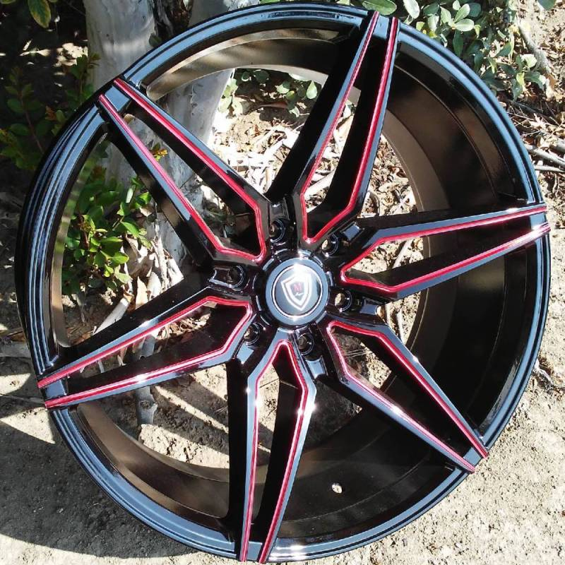 Marquee M.3259A Gloss Black with Red Milled Accents