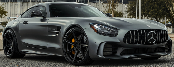 2018 Mercedes AMG GTR on Ferrada Forge8 FR7 Matte Black Wheels