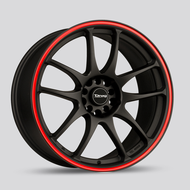 Drag DR31 Flat Black with Red Stripe