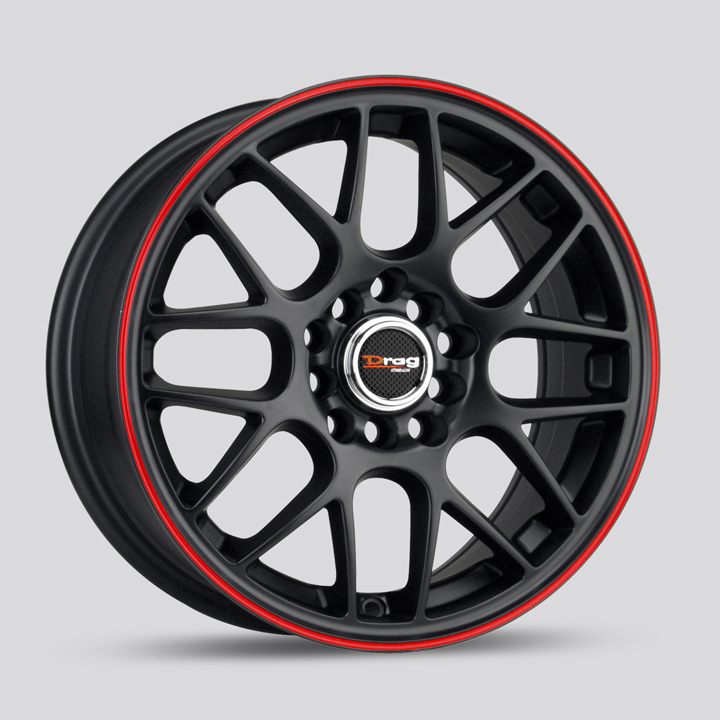 Drag DR34 Flat Black with Red Stripe