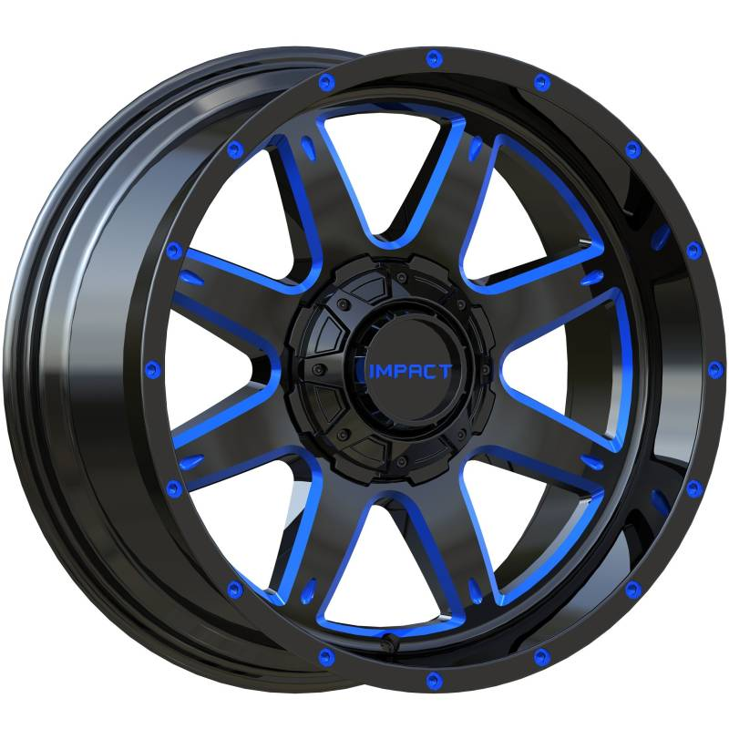 Impact Off-Road 804 Gloss Black with Blue Milled Accents