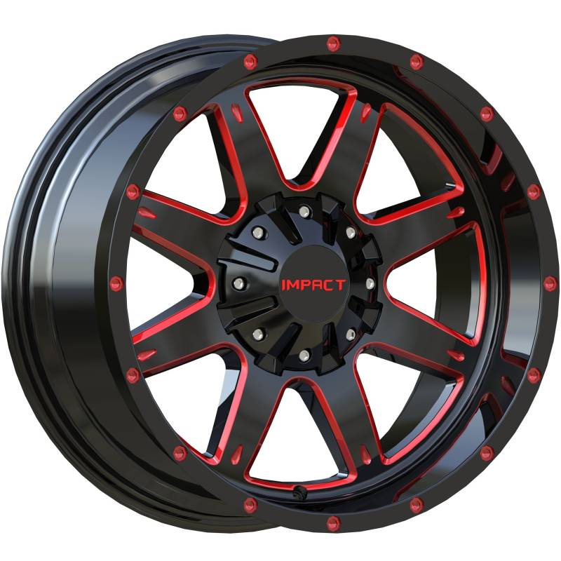 Impact Off-Road 804 Gloss Black with Red Milled Accents
