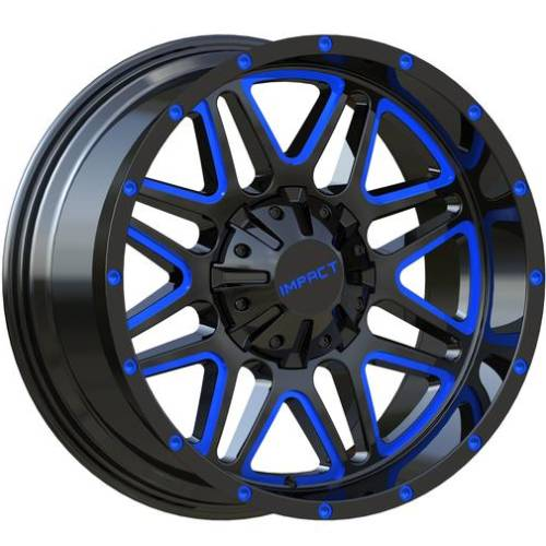 Impact Off-Road 805 Gloss Black with Blue Milled Accents