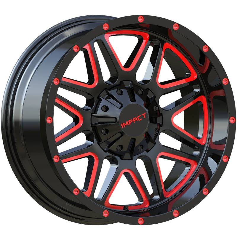 Impact Off-Road 805 Gloss Black with Red Milled Accents
