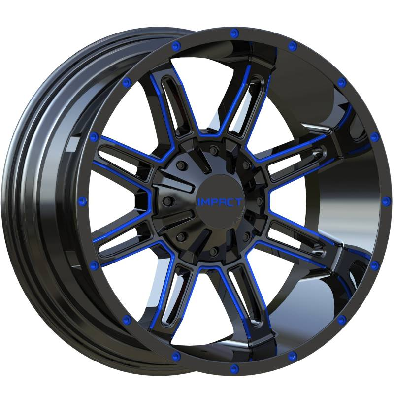 Impact Off-Road 806 Gloss Black with Blue Milled Accents