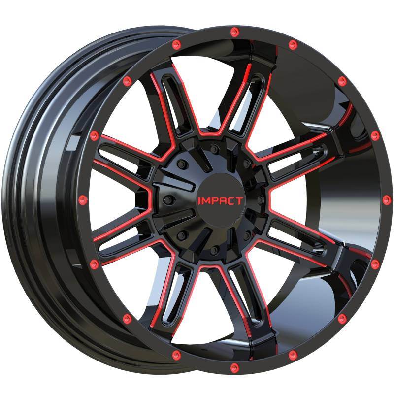 Impact Off-Road 806 Gloss Black with Red Milled Accents