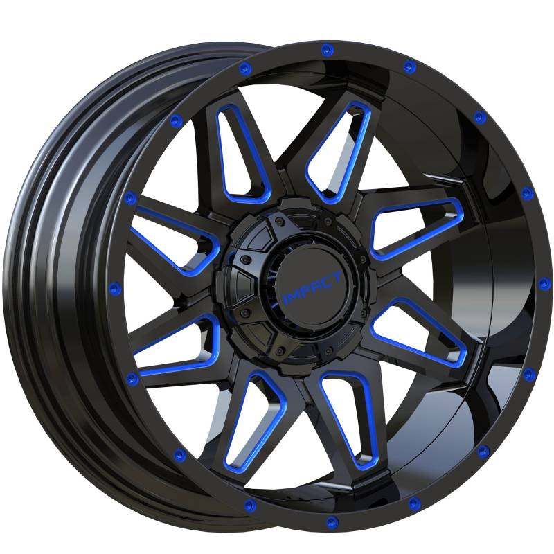 Impact Off-Road 807 Gloss Black with Blue Milled Accents