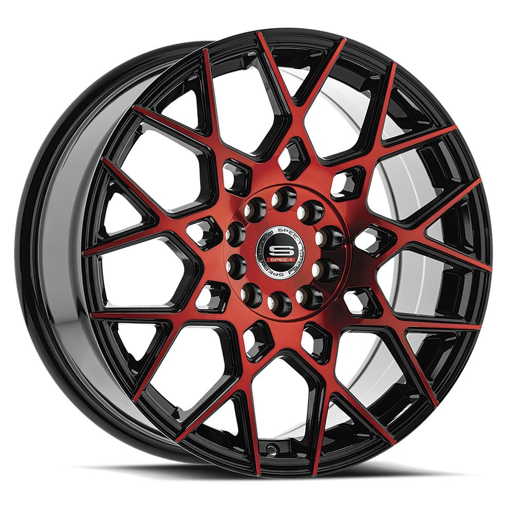 Spec-1 Racing SP-52 Red and Black Wheels