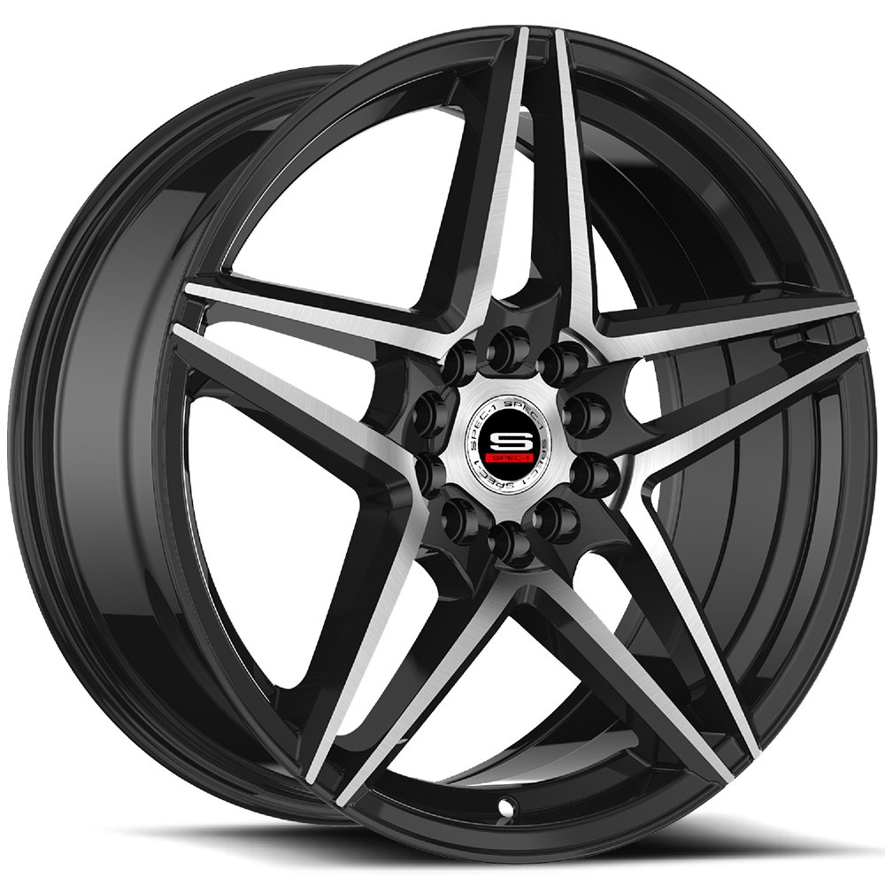 Spec-1 Racing SP-54 Black Machined Wheels