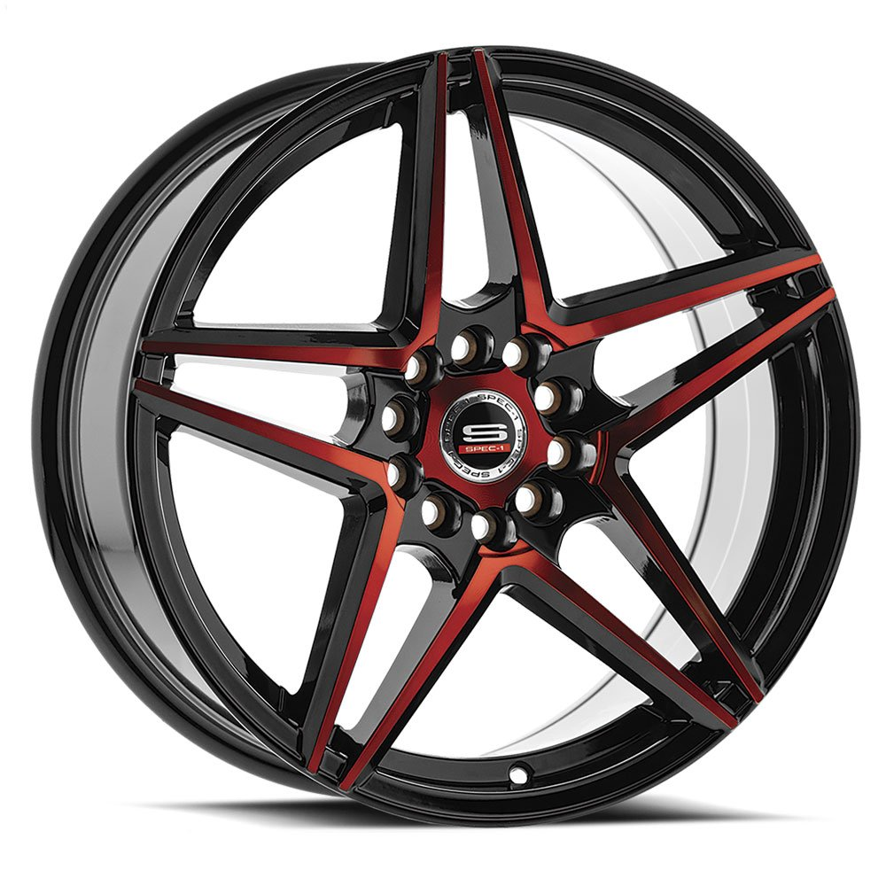 Spec-1 Racing SP-54 Black and Red Wheels