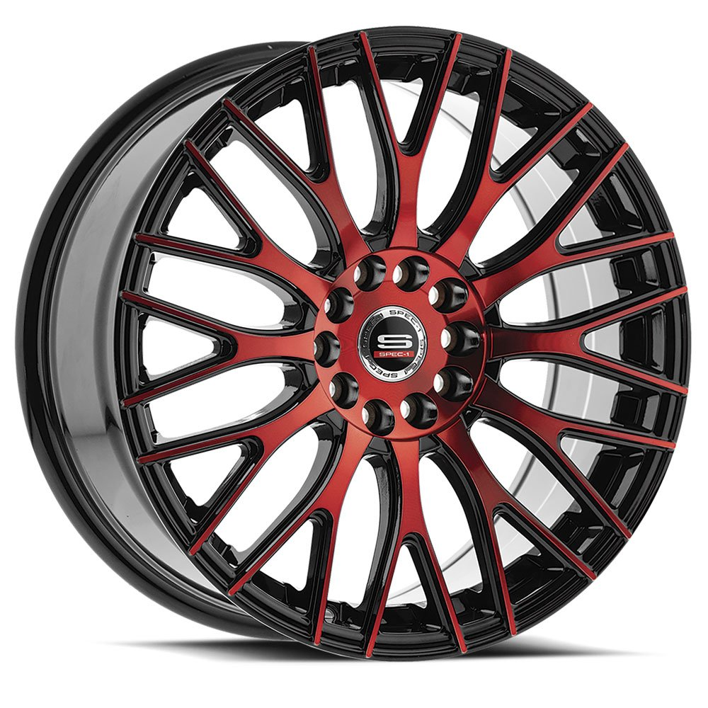 Spec-1 Racing SP-55 Red and Black Wheels