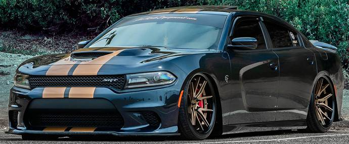 2019 Dodge Charger Hellcat on Ferrada Deep Concave FR2 Matte Bronze Wheels