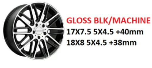 "18"" Kinetic Gloss Black Machined Wheels on Sale $399 set + s/h"