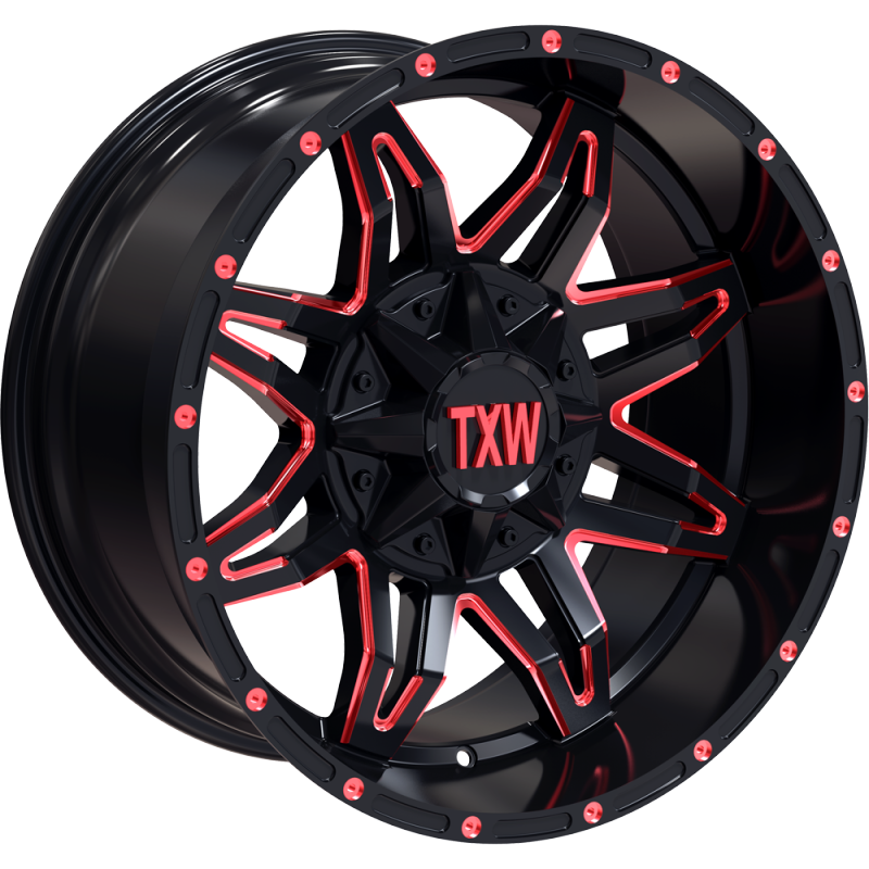 TXW T-0.02 Matte Black with Red Milling