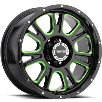 Vision 399 Fury Gloss Black with Green Tint
